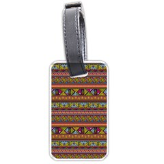 Traditional Africa Border Wallpaper Pattern Colored 2 Luggage Tags (one Side)  by EDDArt