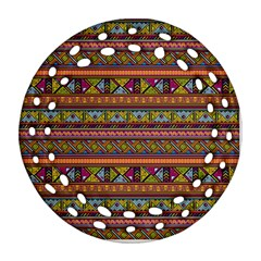 Traditional Africa Border Wallpaper Pattern Colored 2 Round Filigree Ornament (two Sides) by EDDArt