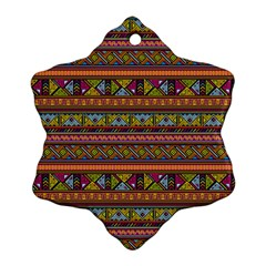 Traditional Africa Border Wallpaper Pattern Colored 2 Snowflake Ornament (two Sides) by EDDArt