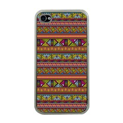 Traditional Africa Border Wallpaper Pattern Colored 2 Apple Iphone 4 Case (clear) by EDDArt