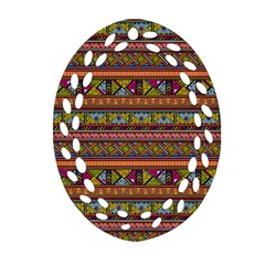 Traditional Africa Border Wallpaper Pattern Colored 2 Ornament (oval Filigree) by EDDArt