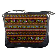 Traditional Africa Border Wallpaper Pattern Colored 2 Messenger Bags by EDDArt
