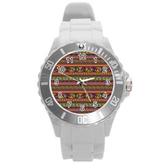 Traditional Africa Border Wallpaper Pattern Colored 2 Round Plastic Sport Watch (l) by EDDArt
