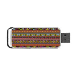 Traditional Africa Border Wallpaper Pattern Colored 2 Portable Usb Flash (one Side) by EDDArt