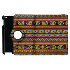 Traditional Africa Border Wallpaper Pattern Colored 2 Apple Ipad 2 Flip 360 Case by EDDArt