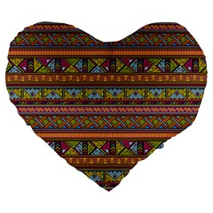 Traditional Africa Border Wallpaper Pattern Colored 2 Large 19  Premium Heart Shape Cushions by EDDArt