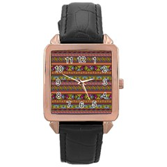 Traditional Africa Border Wallpaper Pattern Colored 2 Rose Gold Leather Watch  by EDDArt