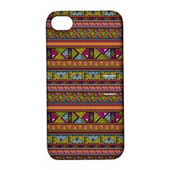 Traditional Africa Border Wallpaper Pattern Colored 2 Apple Iphone 4/4s Hardshell Case With Stand by EDDArt