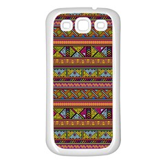 Traditional Africa Border Wallpaper Pattern Colored 2 Samsung Galaxy S3 Back Case (white) by EDDArt