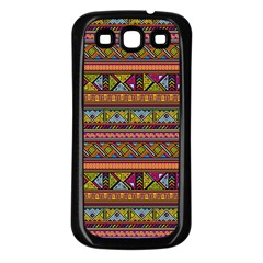 Traditional Africa Border Wallpaper Pattern Colored 2 Samsung Galaxy S3 Back Case (black) by EDDArt