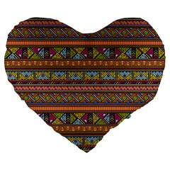 Traditional Africa Border Wallpaper Pattern Colored 2 Large 19  Premium Flano Heart Shape Cushions by EDDArt