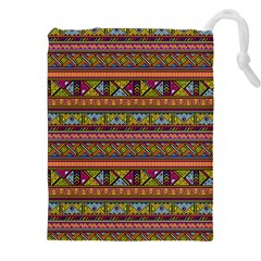 Traditional Africa Border Wallpaper Pattern Colored 2 Drawstring Pouches (xxl) by EDDArt