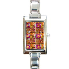Traditional Africa Border Wallpaper Pattern Colored 3 Rectangle Italian Charm Watch by EDDArt