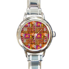 Traditional Africa Border Wallpaper Pattern Colored 3 Round Italian Charm Watch by EDDArt