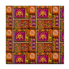 Traditional Africa Border Wallpaper Pattern Colored 3 Tile Coasters by EDDArt