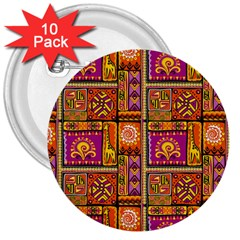 Traditional Africa Border Wallpaper Pattern Colored 3 3  Buttons (10 Pack)  by EDDArt