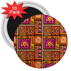 Traditional Africa Border Wallpaper Pattern Colored 3 3  Magnets (10 Pack)  by EDDArt