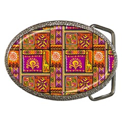 Traditional Africa Border Wallpaper Pattern Colored 3 Belt Buckles by EDDArt