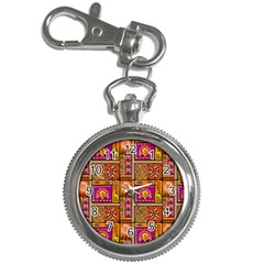 Traditional Africa Border Wallpaper Pattern Colored 3 Key Chain Watches by EDDArt