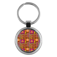 Traditional Africa Border Wallpaper Pattern Colored 3 Key Chains (round)  by EDDArt