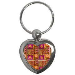 Traditional Africa Border Wallpaper Pattern Colored 3 Key Chains (heart)  by EDDArt