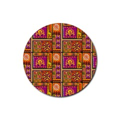 Traditional Africa Border Wallpaper Pattern Colored 3 Rubber Round Coaster (4 Pack)  by EDDArt
