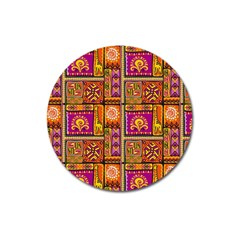 Traditional Africa Border Wallpaper Pattern Colored 3 Magnet 3  (round) by EDDArt