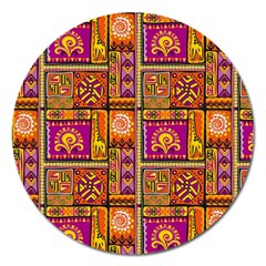 Traditional Africa Border Wallpaper Pattern Colored 3 Magnet 5  (round) by EDDArt