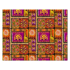 Traditional Africa Border Wallpaper Pattern Colored 3 Rectangular Jigsaw Puzzl by EDDArt