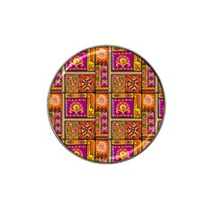 Traditional Africa Border Wallpaper Pattern Colored 3 Hat Clip Ball Marker by EDDArt