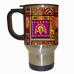 Traditional Africa Border Wallpaper Pattern Colored 3 Travel Mugs (white) by EDDArt