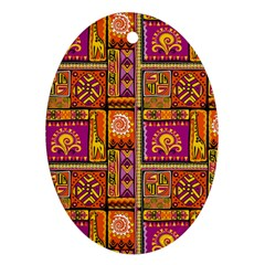 Traditional Africa Border Wallpaper Pattern Colored 3 Oval Ornament (two Sides) by EDDArt