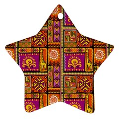 Traditional Africa Border Wallpaper Pattern Colored 3 Star Ornament (two Sides) by EDDArt