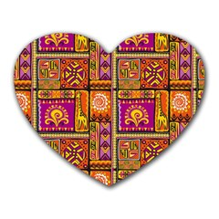 Traditional Africa Border Wallpaper Pattern Colored 3 Heart Mousepads by EDDArt