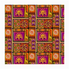 Traditional Africa Border Wallpaper Pattern Colored 3 Medium Glasses Cloth by EDDArt