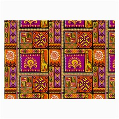 Traditional Africa Border Wallpaper Pattern Colored 3 Large Glasses Cloth by EDDArt