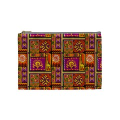 Traditional Africa Border Wallpaper Pattern Colored 3 Cosmetic Bag (medium) by EDDArt