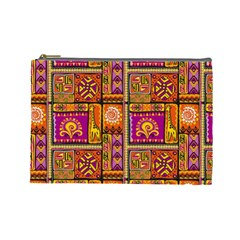 Traditional Africa Border Wallpaper Pattern Colored 3 Cosmetic Bag (large) by EDDArt