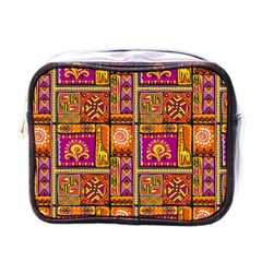 Traditional Africa Border Wallpaper Pattern Colored 3 Mini Toiletries Bags by EDDArt