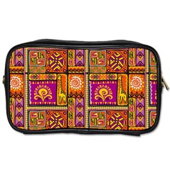 Traditional Africa Border Wallpaper Pattern Colored 3 Toiletries Bags 2 Side by EDDArt