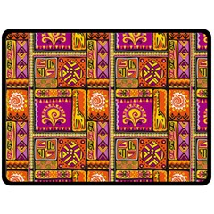 Traditional Africa Border Wallpaper Pattern Colored 3 Fleece Blanket (large)  by EDDArt