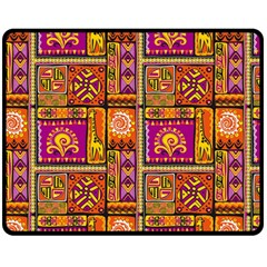 Traditional Africa Border Wallpaper Pattern Colored 3 Fleece Blanket (medium)  by EDDArt