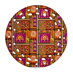 Traditional Africa Border Wallpaper Pattern Colored 3 Ornament (round Filigree) by EDDArt
