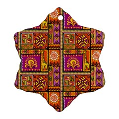 Traditional Africa Border Wallpaper Pattern Colored 3 Ornament (snowflake) by EDDArt