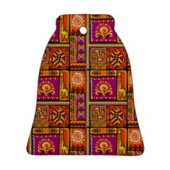 Traditional Africa Border Wallpaper Pattern Colored 3 Bell Ornament (two Sides) by EDDArt