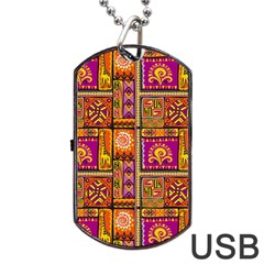 Traditional Africa Border Wallpaper Pattern Colored 3 Dog Tag Usb Flash (two Sides) by EDDArt