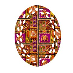 Traditional Africa Border Wallpaper Pattern Colored 3 Oval Filigree Ornament (two Sides) by EDDArt