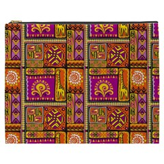 Traditional Africa Border Wallpaper Pattern Colored 3 Cosmetic Bag (xxxl) by EDDArt
