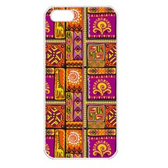 Traditional Africa Border Wallpaper Pattern Colored 3 Apple Iphone 5 Seamless Case (white) by EDDArt