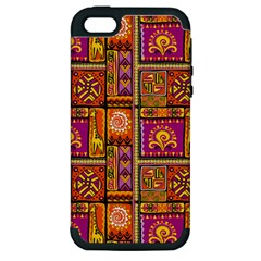 Traditional Africa Border Wallpaper Pattern Colored 3 Apple Iphone 5 Hardshell Case (pc+silicone) by EDDArt